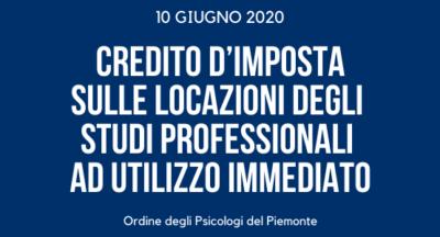 Credito d'imposta sulle locazioni degli studi professionali ad utilizzo immediato