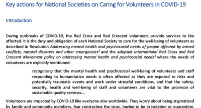 Mental Health and Psychosocial Considerations Key actions for National Societies on Caring for Volunteers in COVID-19