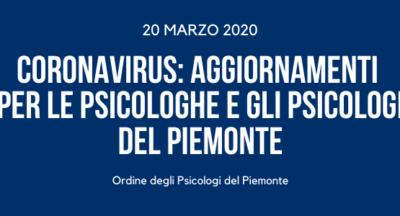 Coronavirus: aggiornamenti per le Psicologhe e gli Psicologi del Piemonte