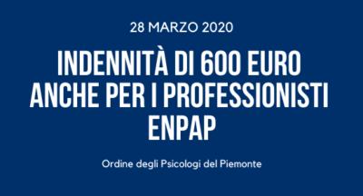 INDENNITÀ DI 600 EURO ANCHE PER I PROFESSIONISTI ENPAP