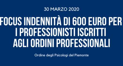 Definita l'indennità di 600 Euro per i professionisti iscritti agli Ordini professionali. Le domande dal 1° aprile ma non per tutti.