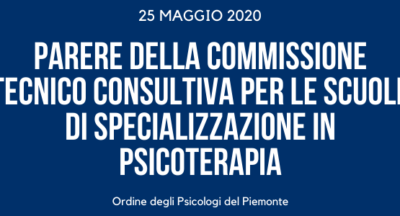Parere della Commissione Tecnico Consultiva per le Scuole di Specializzazione in Psicoterapia